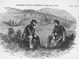 Army of the Tennessee - Grant discussing the terms of the capitulation of Vicksburg with defeated Confederate General Pemberton