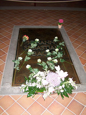 St. Thomas Church, Leipzig - Bach's grave beneath the floor of the choir (sanctuary) of the church