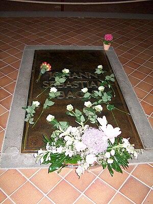 St. Thomas Church, Leipzig - Bach's grave beneath the floor of the choir (sanctuary) of the church