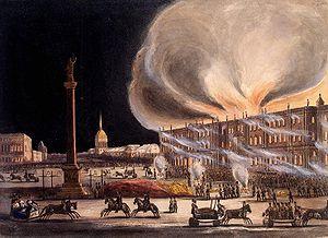 Fire in the Winter Palace - Fire in the Winter Palace, 1837, Watercolour by B. Green, 1838