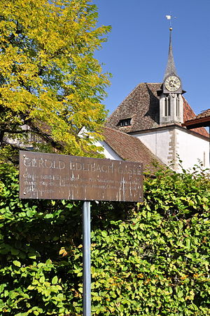Gerold Edlibach - Gerold Edlibach lane in Greifensee, Zürich, the Greifensee Reformed Church in the background