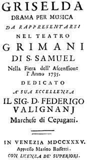 <i>Griselda</i> (Vivaldi) opera by Antonio Vivaldi