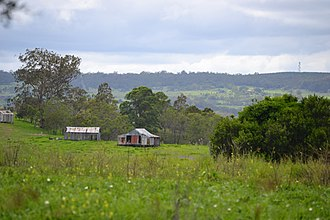 Groomsville, Queensland - View over farmland at Groomsville looking east towards Pechey Forestry from Green Acres Road, 2015