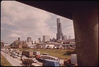 Dan Ryan Expressway - Heavy traffic in 1973.  Photo by John H. White.