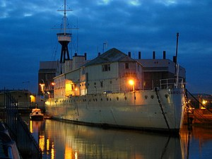 HMS Caroline (1914) - Stern view of Caroline at night