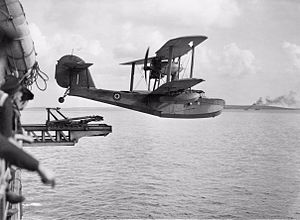 Aircraft catapult - A Supermarine Walrus being launched from the catapult of HMS ''Bermuda'' (1943)