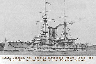 HMS Canopus. Canopus Hill in the Falkland Islands commemorates her role in the Battle of the Falkland Islands. HMS Canopus news mimic.jpg