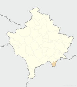 Location of the municipality of Elez Han within Kosovo