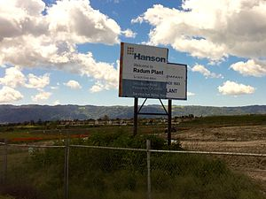Radum, California - Sign for Hanson Aggregrates facility in what is now east Pleasanton, CA