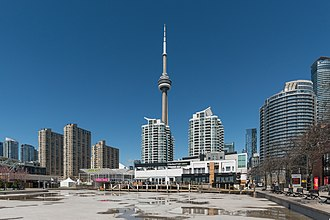 Harbourfront Centre - Harbourfront Centre and high rises on Queens Quay W, Toronto