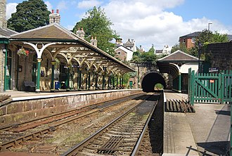 Knaresborough railway station - The station in 2014 looking towards the tunnel