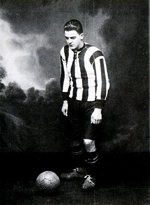 "Harry Dahl - Harry ""Hacke"" Dahl, in the black and white striped colours of Landskrona BoIS"