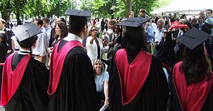 Academic regalia of Harvard University - Rear view of four Harvard master's gowns and hoods.  The master's hood is the same shape as the doctor's hood, but is slightly shorter.