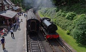"Lakeside and Haverthwaite Railway - Hunslet Austerity ""Repulse runs around its train at Haverthwaite in 2013."