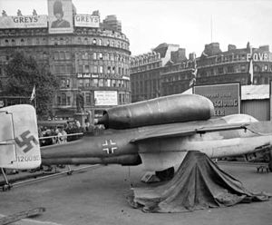 He 162 on display Trafalgar Square 1945.jpg