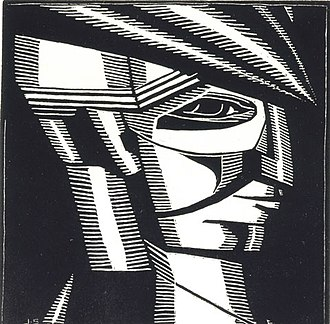 John Storrs - 'Profile Head with Cap', woodcut on paper, c. 1918, Smithsonian American Art Museum.