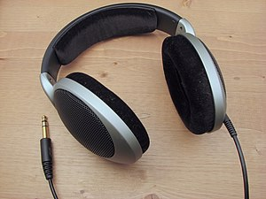 Headphones - Sennheiser HD 555 headphones, used in audio production environments (2007)