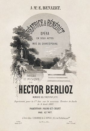 Béatrice et Bénédict - Cover of the first edition vocal score, with illustration by A. Barbizet