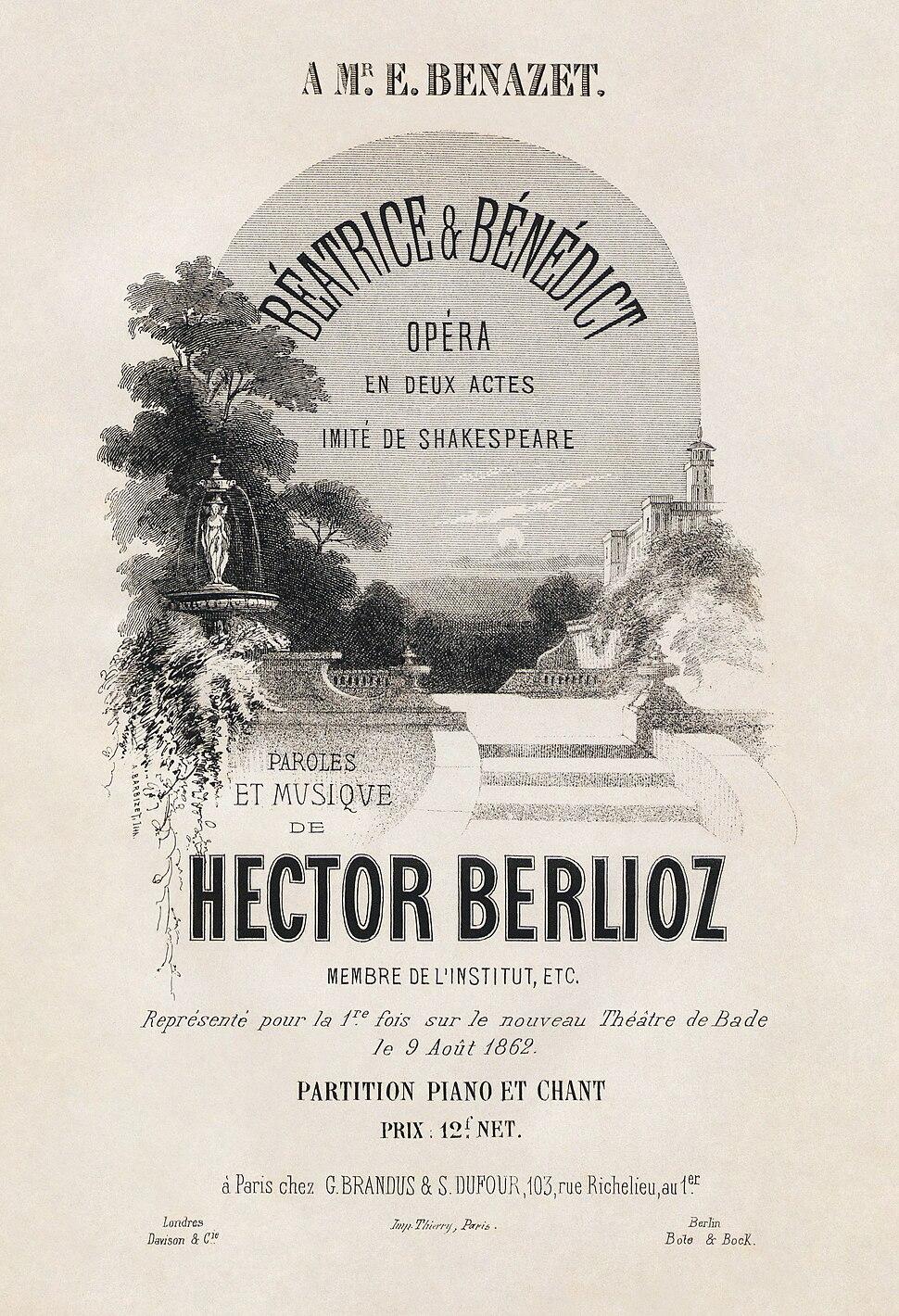 Hector Berlioz, Béatrice et Bénédict score title page - Restoration