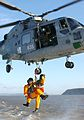 Helicopter winching with the Bristol Life Boat crew. MOD 45145569.jpg