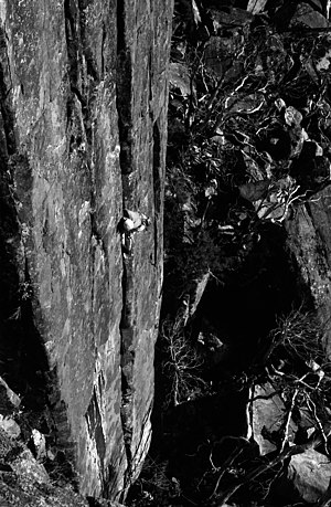 First ascent - Henry Barber on first ascent of Savage Journey at Lost World, Mt. Wellington, Tasmania, 1975