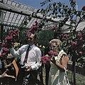 Het koninklijk paar in de plantentuin van Bogor bij de bougainville, Bestanddeelnr 254-9047.jpg
