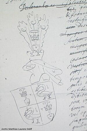 Wolfgang von Graben - Coat of arms De Graeff (1677) as illegetime descandents of Wolfgang von Graben