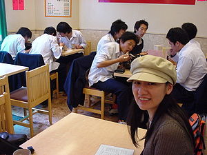 High school students eating Ramen in Tokyo.