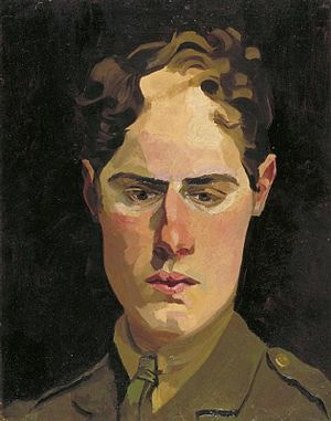Richard Carline - Self-portrait in uniform (1918)