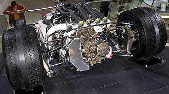 "Honda RA300 - Rear view showing ""waterfall"" exhaust array."