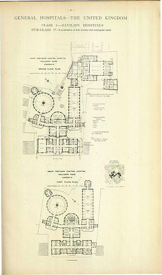Royal Northern Hospital - Floor plan in 1893