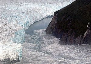 Glacial lake outburst flood - The Hubbard Glacier is overwhelmed on 14 August 2002 in the second largest GLOF in historical times.