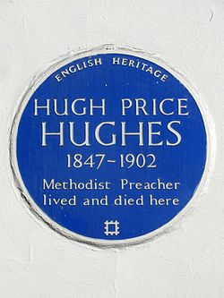 Hugh price hughes 1847 1902 methodist preacher lived and died here