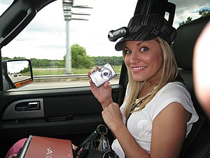 IJustine - Justine in a car with lifecasting equipment.