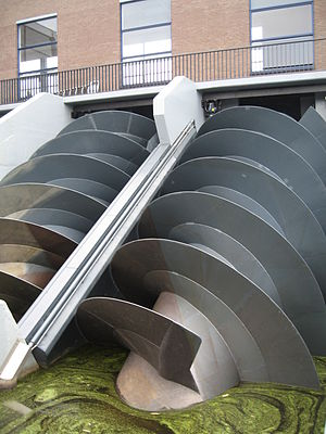 Archimedes' screw - Modern Archimedes screws which have replaced some of the windmills used to drain the polders at Kinderdijk in the Netherlands