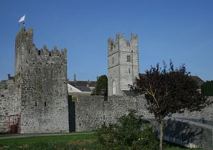 Fethard, County Tipperary - Fethard's village walls with mural tower house (at left) and church tower (at right).