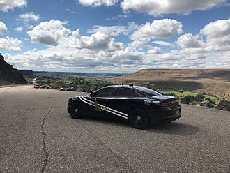 Idaho State Police - An Idaho State Police patrol car in the Snake River Valley near Hagerman, Idaho, 2017
