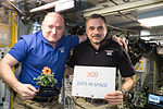 ISS-46 Scott Kelly and Mikhail Kornienko marked their 300th consecutive day in the Zvezda module.jpg