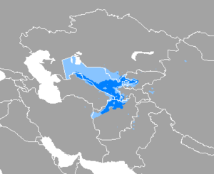 A map, showing that Uzbek is spoken throughout Uzbekistan, except the western third (where Karakalpak dominates), and northern Afghanistan.
