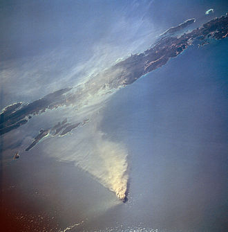 Volcano - Aerial view of the Barren Island, Andaman Islands, India, during an eruption in 1995. It is the only active volcano in South Asia.