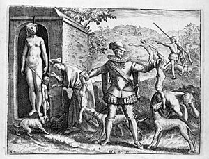 Black Legend - A 1598 engraving by Theodor de Bry depicting a Spaniard supposedly feeding Indian children to his dogs. De Bry's works are characteristic of the anti-Spanish propaganda that originated as a result of the Eighty Years' War.