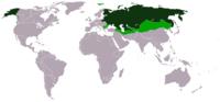 Mapa del Imperio Ruso mostrando sus territorios e influencias, al rededor de 1866