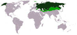 Russian Empire (dark green) and areas within its sphere of influence (light green) as of 1866, at the time of the maximum territorial expansion of the empire.