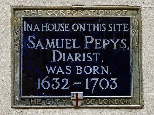 Photo of Samuel Pepys blue plaque