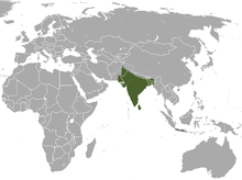 Indian Hare range(green - native, red - introduced, dark grey - origin uncertain)