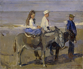 Boy and Girl on Donkeys