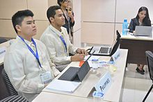 Delegates attending a committee session