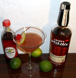Applejack (drink) - A bottle of blended apple brandy, along with a Jack Rose Cocktail