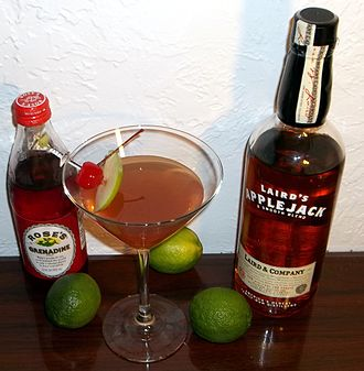"""Laird & Company - A """"Jack Rose"""" cocktail is made from Applejack and Grenadine."""