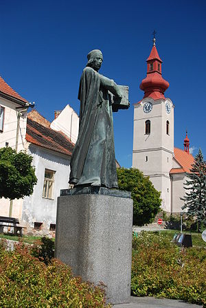 Husinec (Prachatice District) - Statue of Jan Hus in Husinec